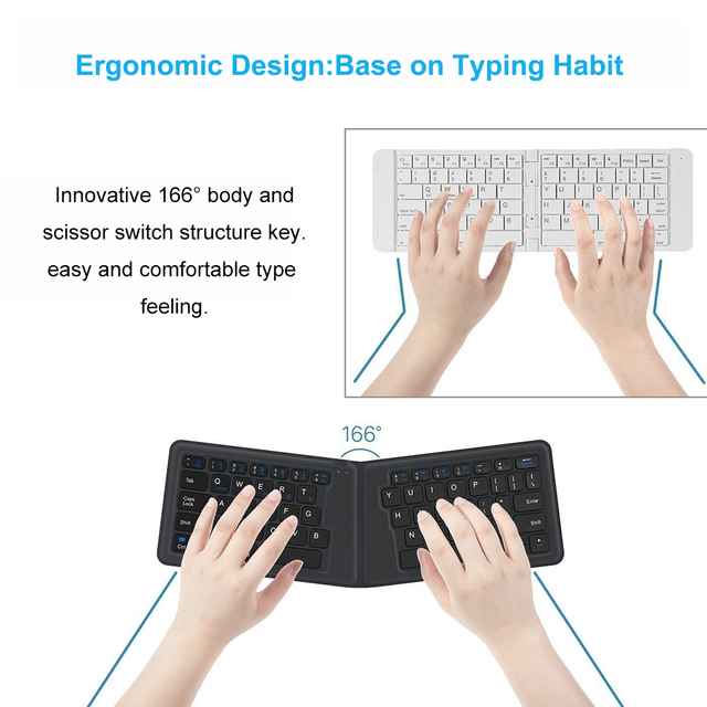 Portable Leather folding Mini Bluetooth Keyboard