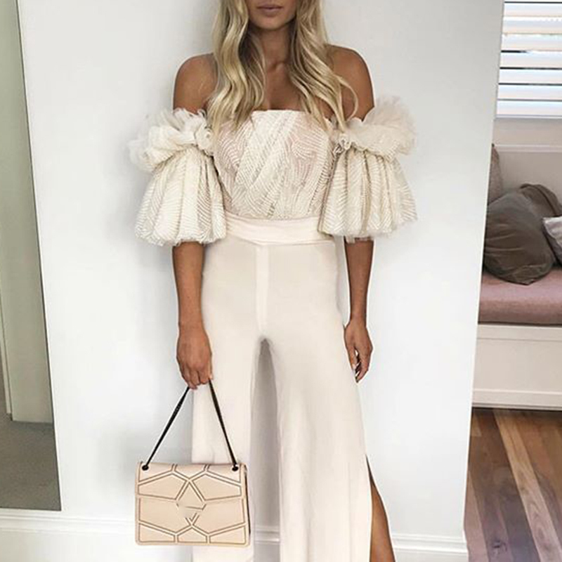 Image 5 - TWOTWINSTYLE Strapless Shirt For Women Off Shoulder Embroidery  Ruffles Flare Sleeve Sexy Short Tops Summer Fashion 2020  ClothingBlouses