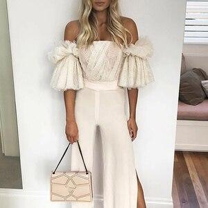 Image 5 - TWOTWINSTYLE סטרפלס חולצה לנשים מכתף רקמת ראפלס אבוקה שרוול סקסי קצר חולצות קיץ אופנה 2019 בגדים