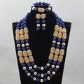 Moda Azul Real sistemas de La Joyería Nupcial de La Boda Africana de Nigeria Coral Perlas/Mujeres Collar de Perlas de Set Envío Libre CJ811