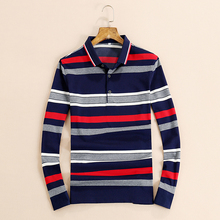 2017 Spring Turn Down Collar Long Sleeve Striped Polo Shirt Men Business Casual Mens Polo Shirts Polos Homme