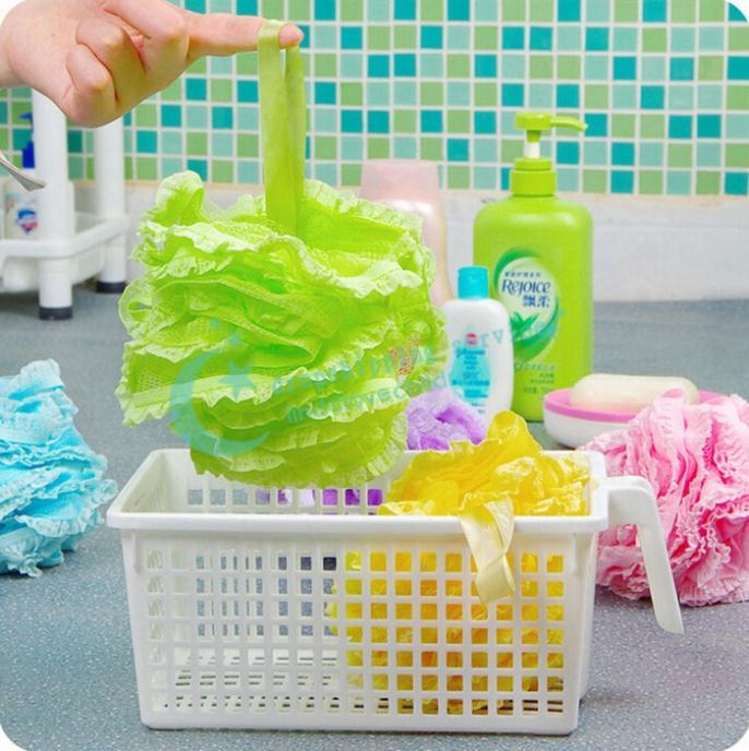 Productos de baño de baño de encaje Puff Tuba esponja de algodón Multi-Foam bola