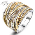Mytys 2016 Fashion Rings for Women Party Rock Rings  Gold plated Free shipping Jewelry R1643