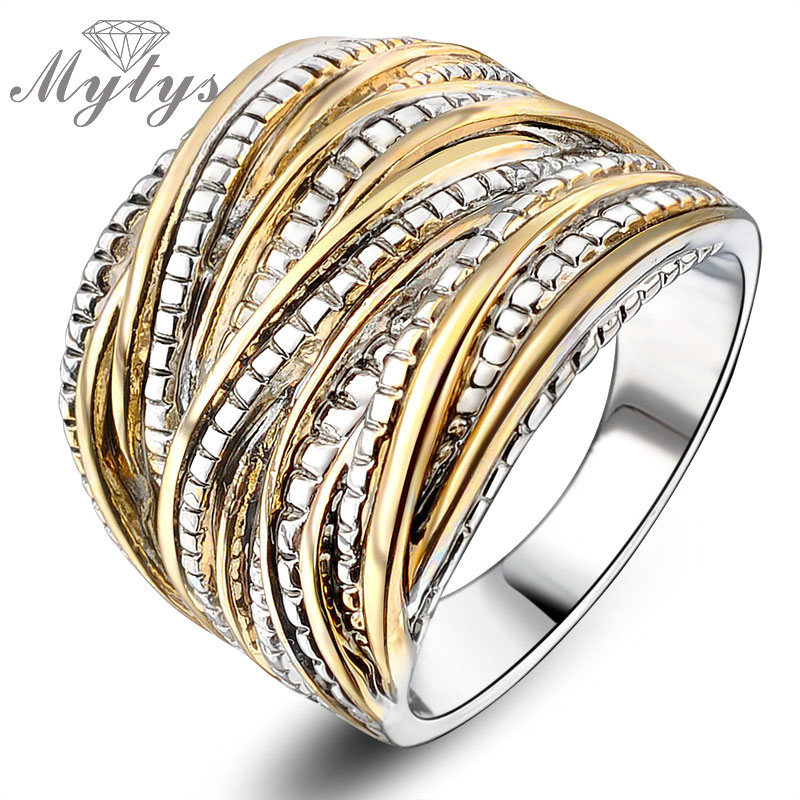 Mytys Fashion Ұнтақты Rings for Women Әйелдер партиясы Rock Rings GP Тегін жеткізу Vintage Jewelry Retro Ring R1643