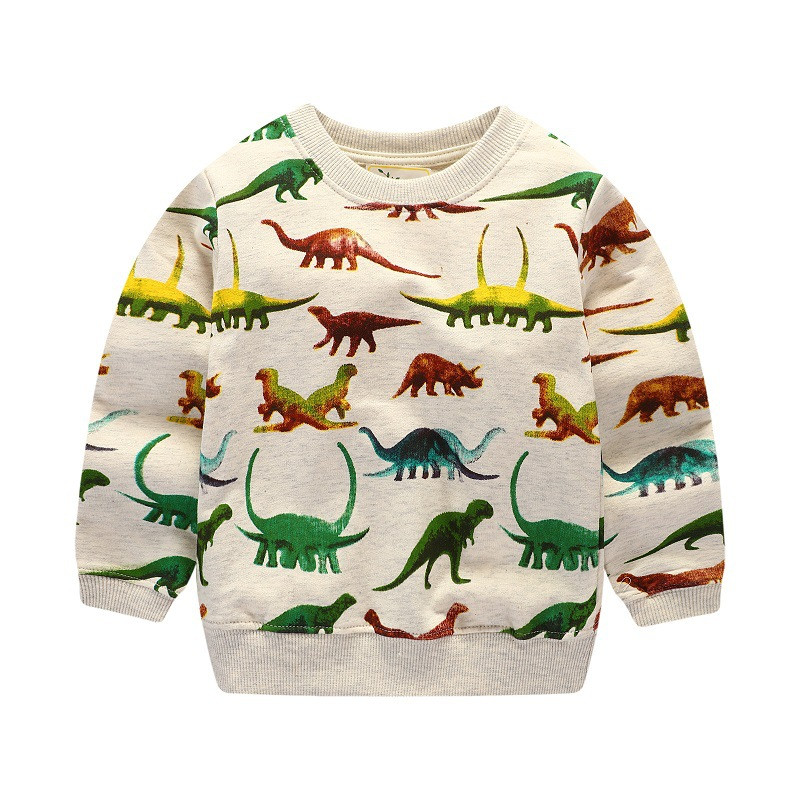 Baby boys long sleeve cotton t shirt high quality children clothing printed dinosaur t shirt toddler tops for kids boy jumping цена 2017