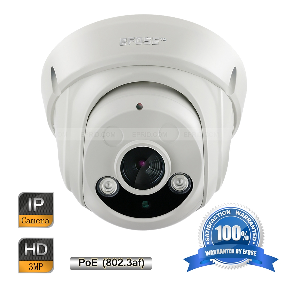 EFOSE FO-3ID341-P 3MP Full HD Network IR Dome POE Camera 1/3 CMOS ...