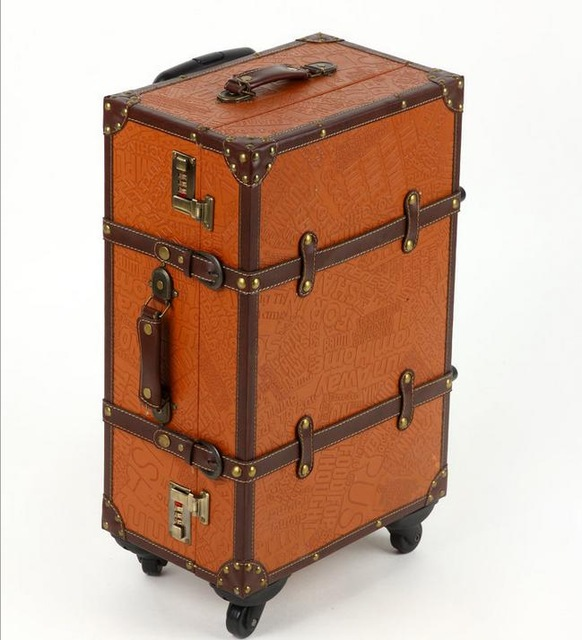 """20 """"22"""" 24 """"bavul старинные дорожная сумка прокатки багажа spinner PU водонепроницаемый чемодан"""