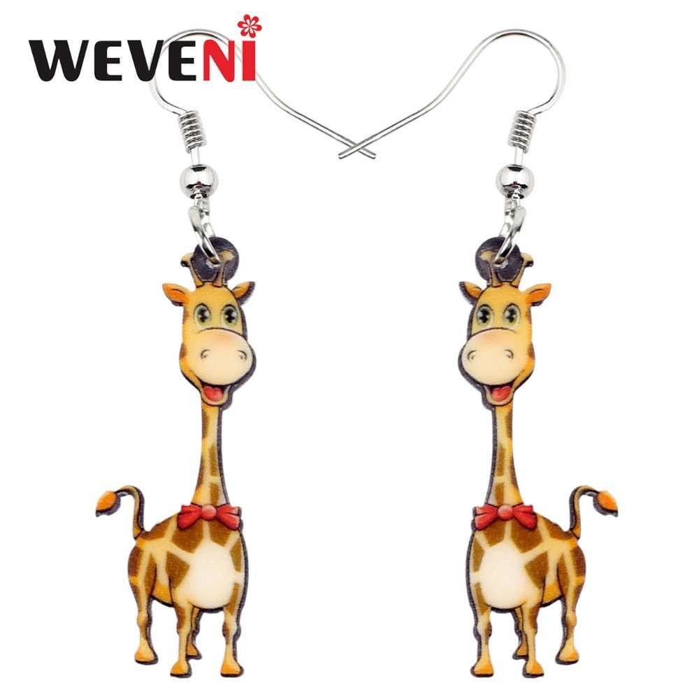 WEVENI Acrylic Happy Africa Giraffe Earrings Dangle Drop Big Long Anime Wild Animal Jewelry For Women Girls 2018 Wholesale