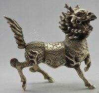 TNUKK Collectible Decorated Old Handwork Tibet Silver Carved Kylin Statue metal handicraft