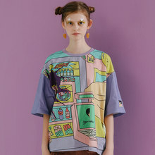 Harajuku Original Graffiti Womens Loose Tee Shirt Tops O Neck Short Sleeve Ladies T-shirts Mixed Colors 2018 Summer New T Shrit