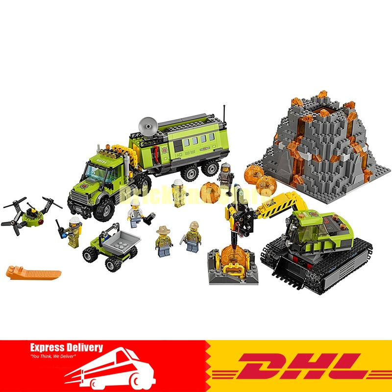 Lepin 02005 889Pcs City Series Volcano Exploration Base Building Blocks Compatible 60124 Brick Toy lepin 02012 city deepwater exploration vessel 60095 building blocks policeman toys children compatible with lego gift kid sets
