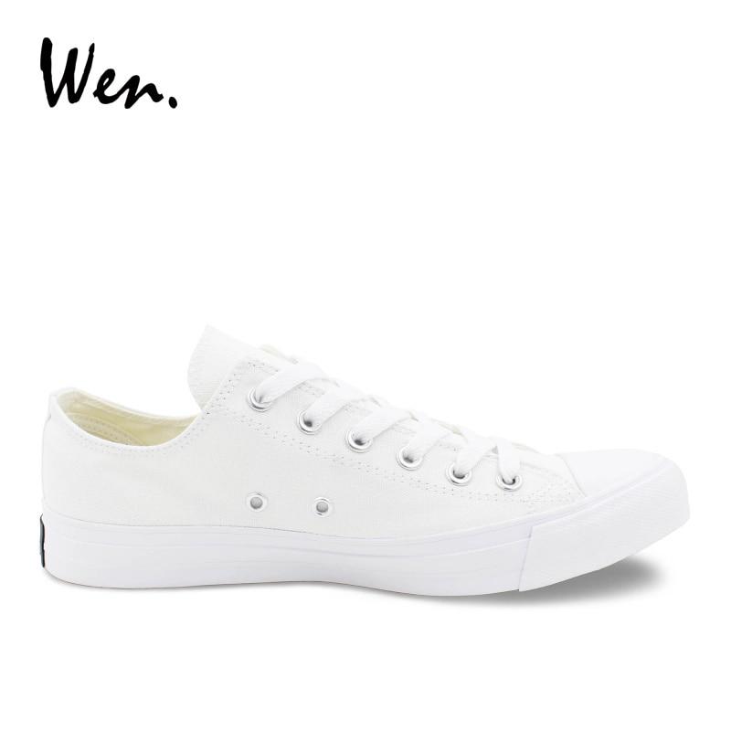 Wen Canvas Shoes Muškarci Tenisice Niska Vrh Solid Bijela Casual - Muške cipele - Foto 4