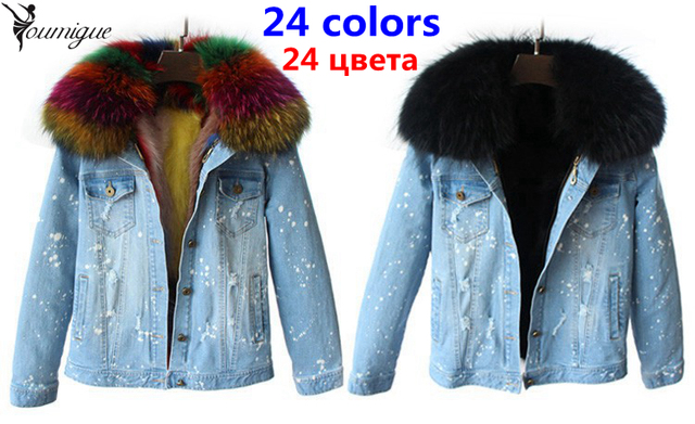 YOUMIGUE New denim  Jacket Women Real Raccoon Fur Hooded Parka With fox Fur Lining For Winter fur coat female real fur parka