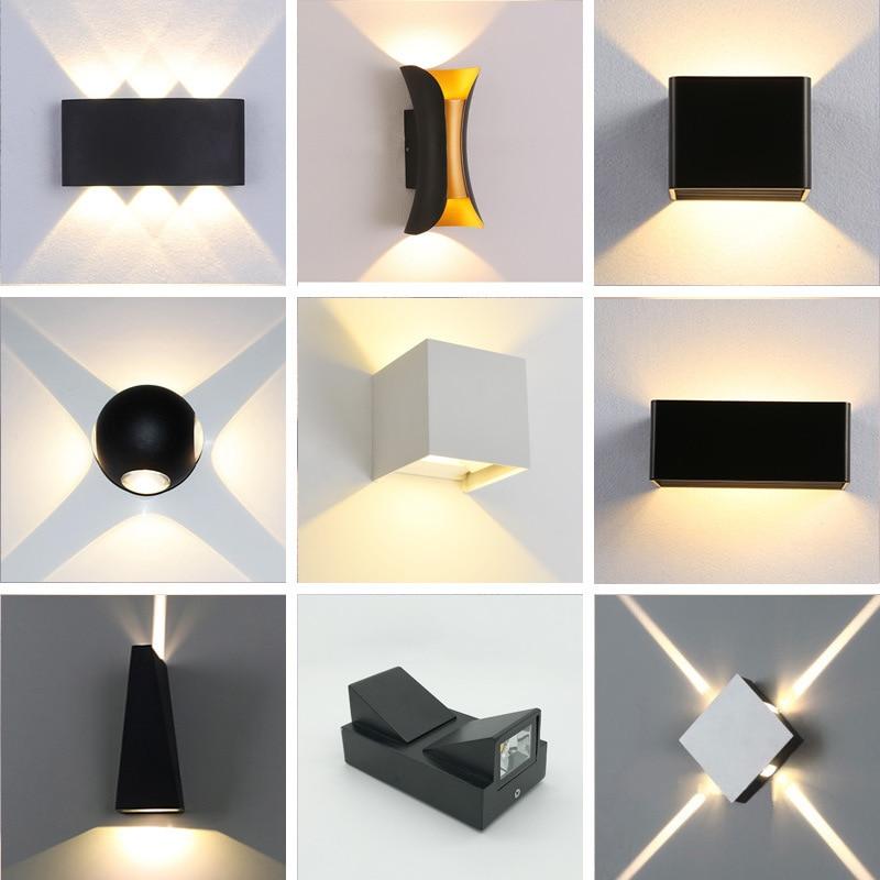 ac110 220v 4 12w outdoor waterproof led wall lamp modern sconce stair light fixture bedside indoor home hallway loft lighting
