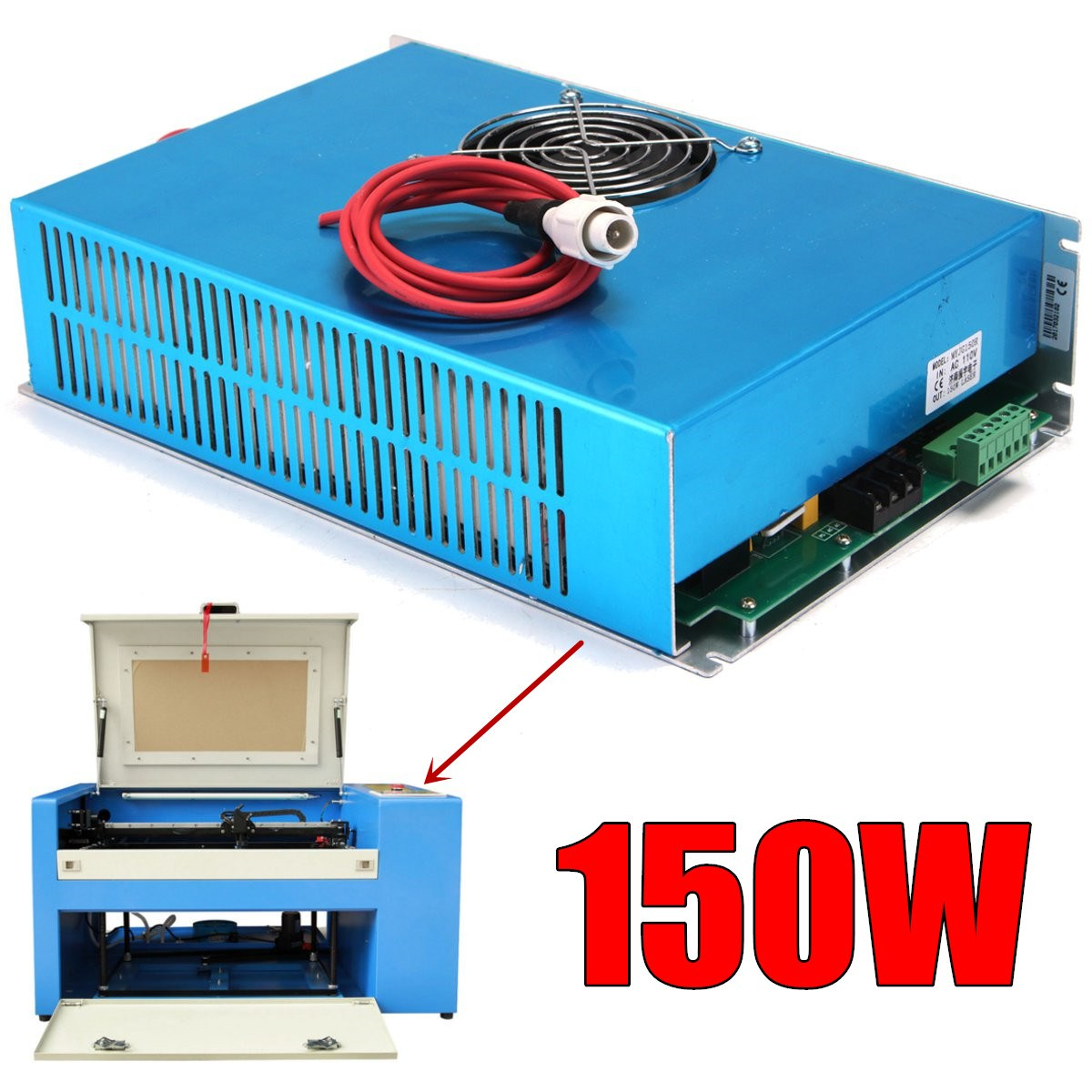 AC 110V 150W Laser Power Supply High Speed Blue for CO2 Laser Engraving Cutting Machine Visible Light with Cable high voltage flyback transformer for co2 50w laser power supply