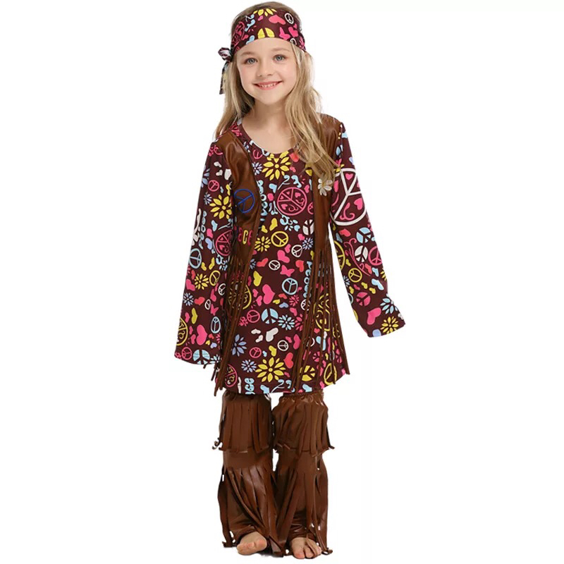 Kids Girls Halloween 60s 70s Vintage Hippie Fringe Floral Costume Dress Child Indian Native Hippy Funny Clothes For Baby Toddler