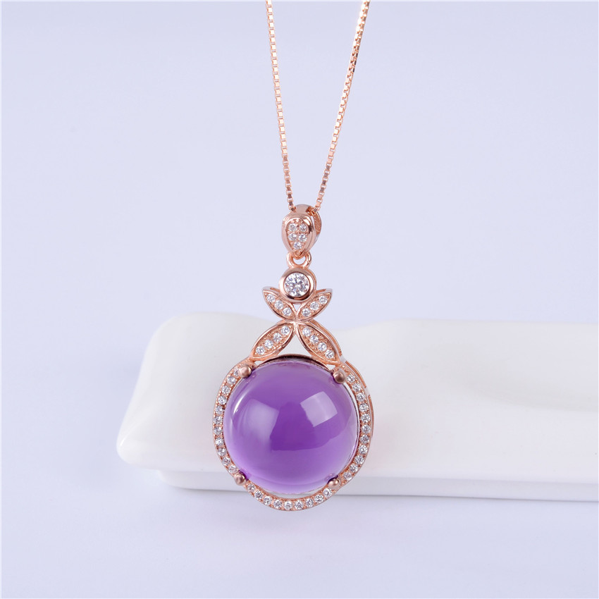 Almei Purple Amethyst Crystal 925 Sterling Silver Statement Pendant Necklace Rose Gold Color Women Jewelry with Chain Box CN064
