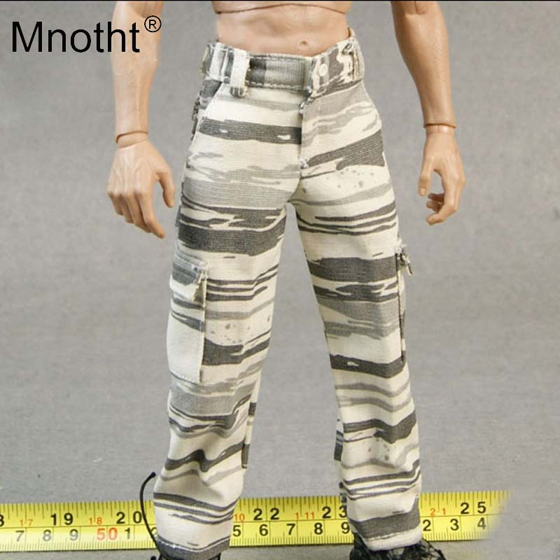 Mnotht 1/6 Scale Male Solider Model Snow Camouflage Trousers CKC L23-26 Pants For 12in Action Figure Toy Hobbies Collection mt
