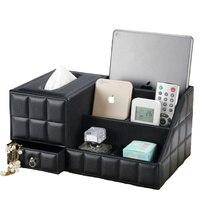 Многоцелевой стол организатор кожа PU Винтаж офисный стол Хранение коробка черный классический карандаш держатель Канцелярские коллекции ...