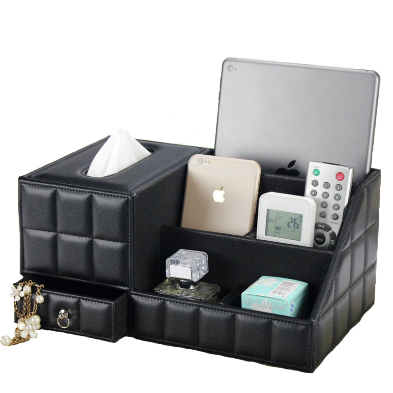 Multipurpose Desk Organizer Leather PU Vintage Office Desk Storage Box Black Classic Pencil Holder Stationery Collection Boxes ...