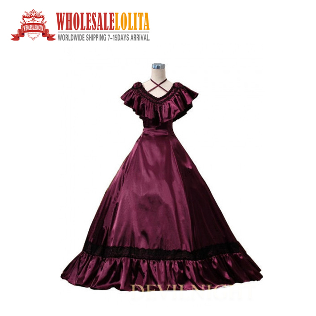Wine Red Victorian Edwardian Belle Evening Gown-in Dresses from ...
