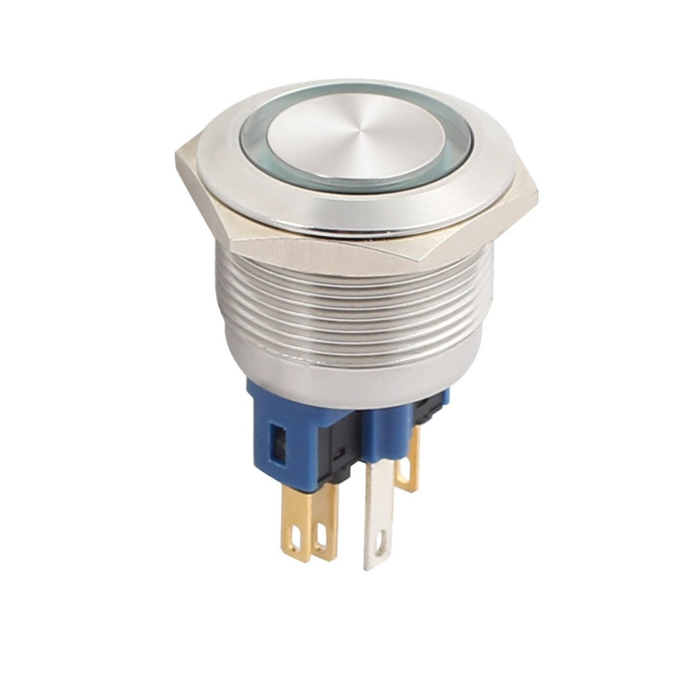 UL 22mm 0.87 Mounting Thread AC 5A 250V Flat Round Momentary Stainless Steel Metal 1NO 1NC DPST Push Button Switch Green Light large illumination area ul panel light 4 x1 1200x300mm hanging recessed wall surface mounting no gare soft flat light