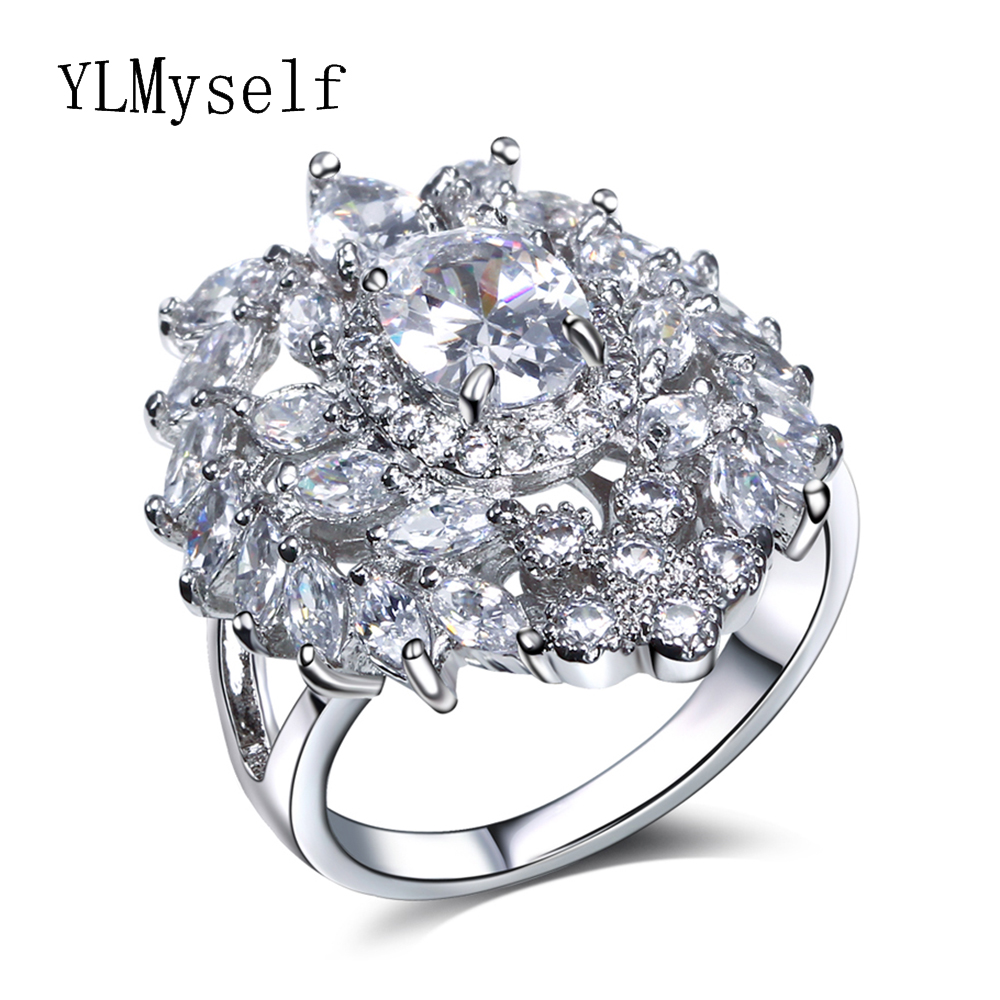 Fashion Sparkly Heart Crystal Ring Romantic Gifts For Women Jewelry Birthday Gift Accessories Jewelries Lovely Female Rings