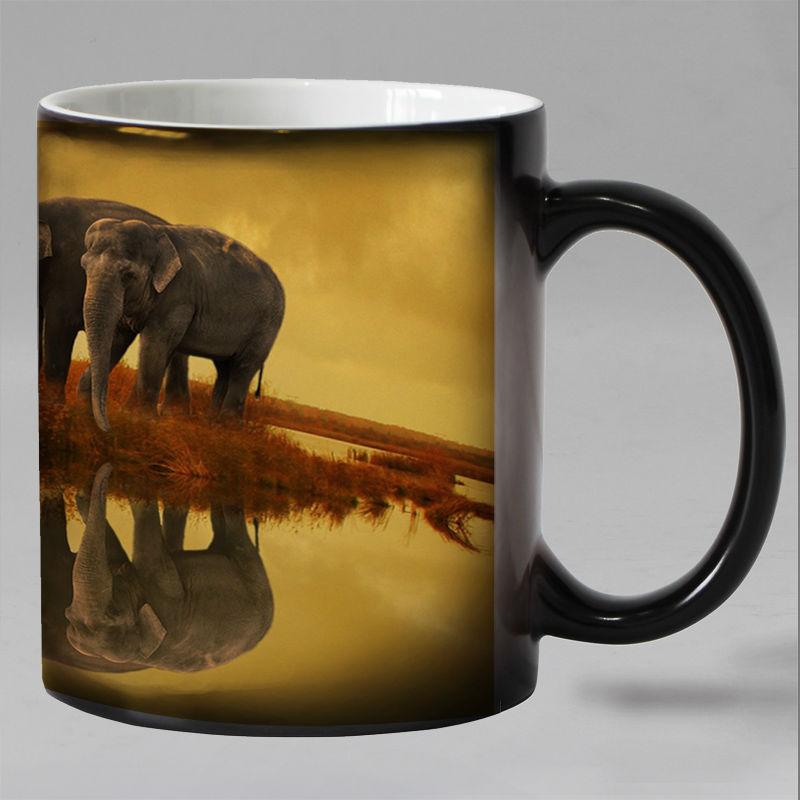 Free shipping Elephant  Heat sensitive Coffee mug cup Porcelain Magic Color changing Tea Cups christmas gift  african elephant