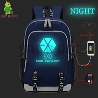 Kpop EXO Baekhyun Luminous School Bags for Teenage Girls Boys Multifunction USB Charging Headphone Jack Laptop Travel Backpack