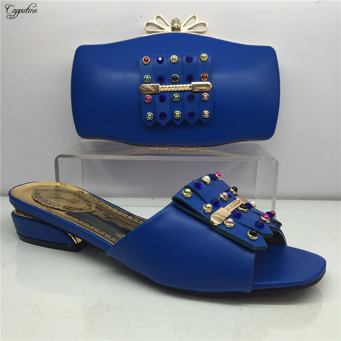 Popular azul royal Africano chinelo sapatos e bolsa conjunto agradável de harmonização para a festa de noite vestido GY20, altura do salto 4 cm