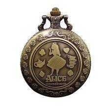 Steampunk Pocket Watch Retro Alice In Wonderland Theme Bronze Quartz Pocket Watches Vintage Fob Watches Christmas Brithday Gift
