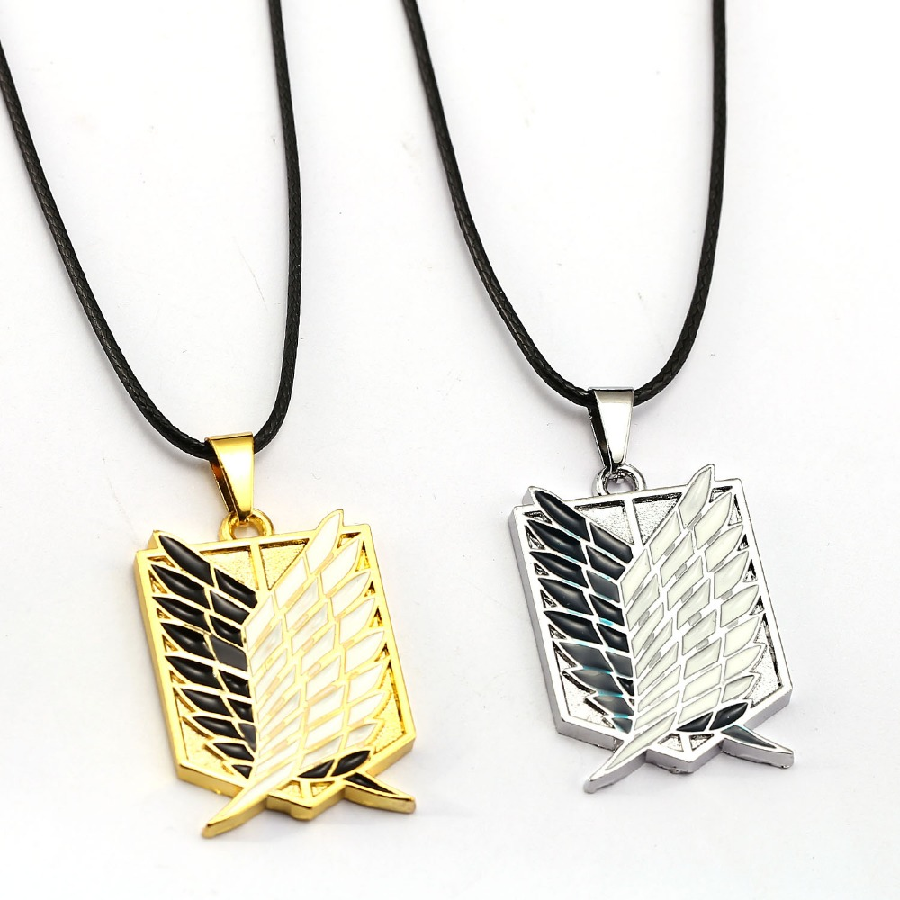 Attack on Titan Necklace Survey Corps Logo Rope Pendant