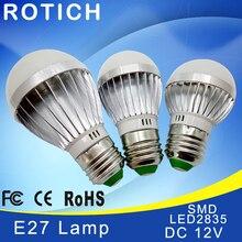 Lâmpada de luz de led e27 e14 12 v, smd 2835chip e27 3 w 6 w 9 lâmpada led de 12 w 15 w 18 w