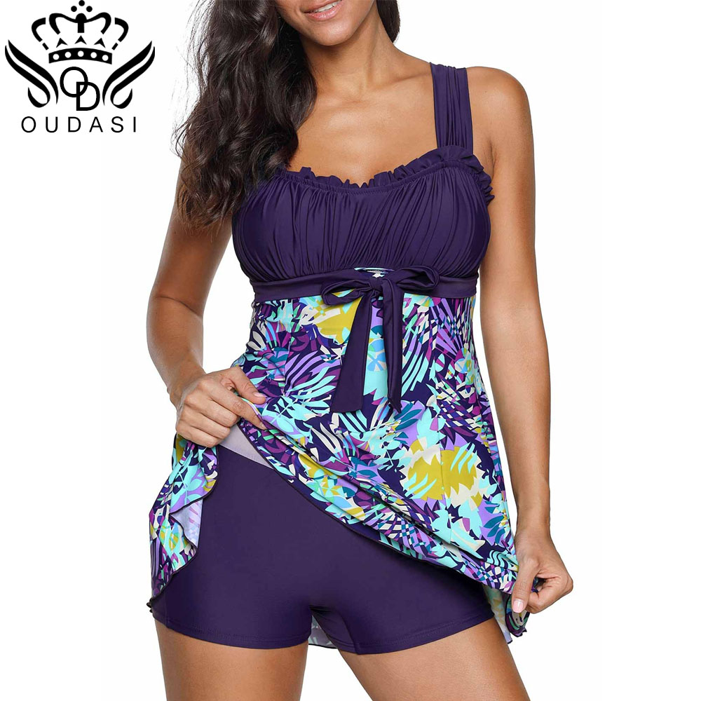 High Cut Swimdress Plus Size Tankini Swimsuits Floral Print Swimwear Women Ladies Push Up With Shorts Sport Two Pieces 5XL