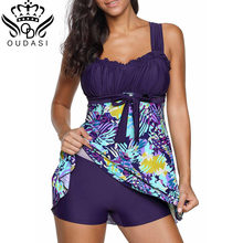 High Cut Swimdress Plus Size Tankini Swimsuits Floral print Swimwear Women Ladies Push Up With Shorts Sport Two Pieces 5XL(China)