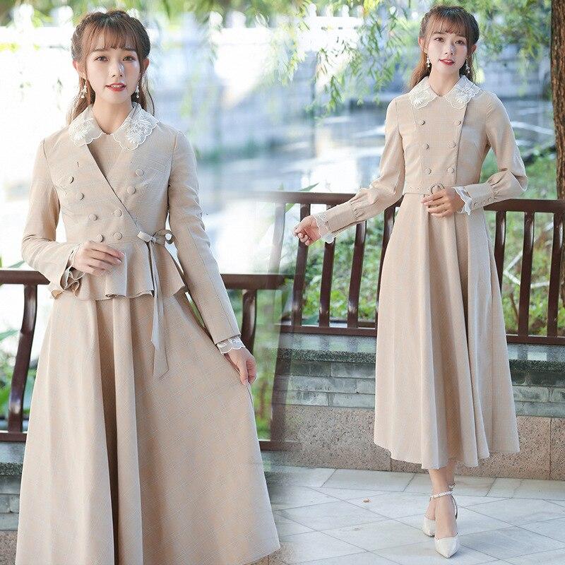 Ubei2019 Women vintage coat versatile flounce jacket small suit spring plaid long dress set women coat in Women 39 s Sets from Women 39 s Clothing