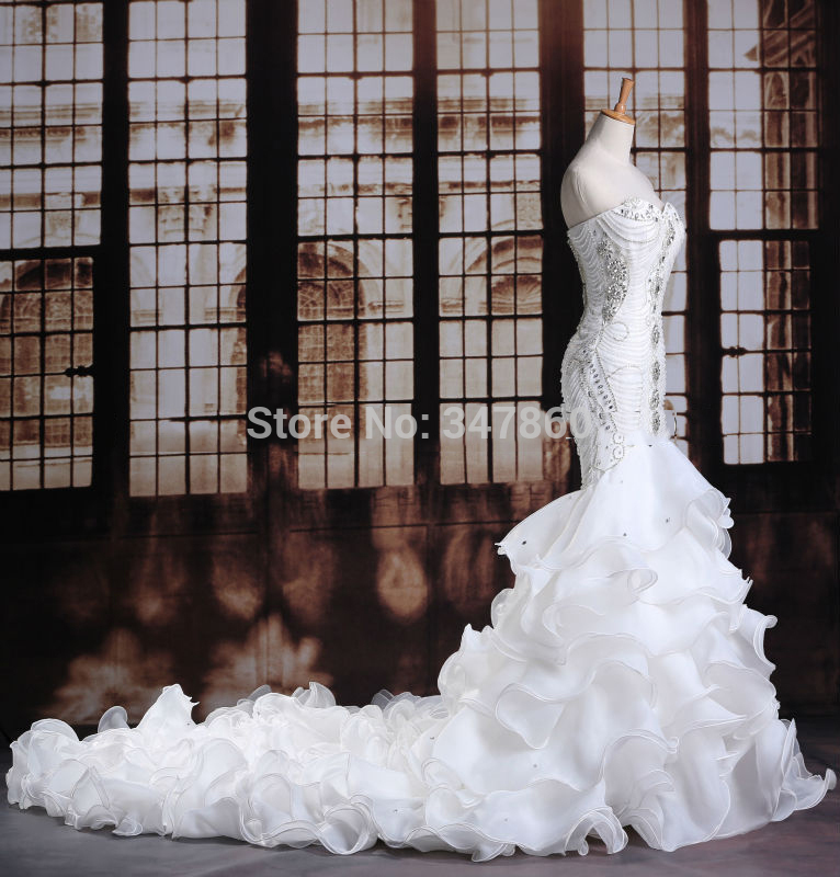 Luxurious Crystals Mermaid Wedding Dress Expensive Bridal Vestido De Noiva Robe Mariage Curto 2017 Customize In Dresses From