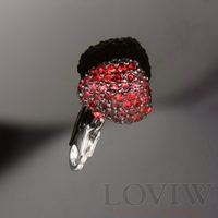 Three Dimensional Thomas Style Heart With Rhinestone Charm Love Lobster Clasp Pendant Fit Bracelet European Jewelry