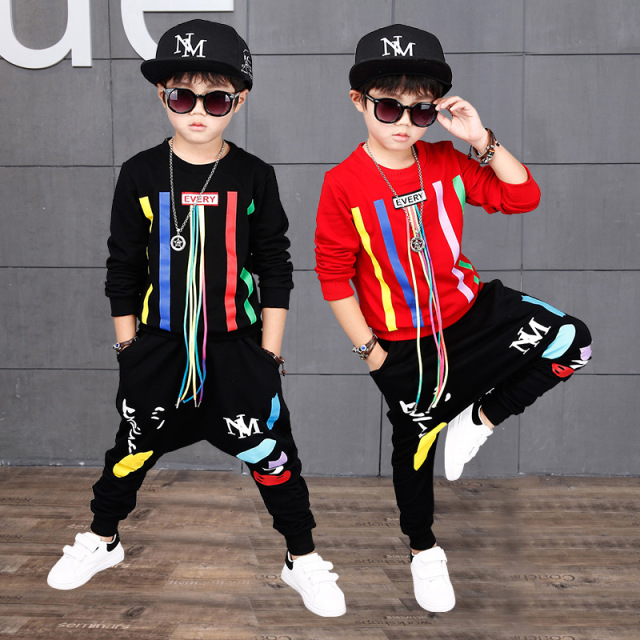 2018 Autumn Boys Hip Hop Clothing Set Kids Color Bars Printing Dancing Clothes Children Sport Suit