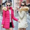Новые Моды для Женщин Зимняя Куртка С Меховым Капюшоном Толстый Пуховик Длинные Женские Зимние Куртки И Пальто Jaqueta Feminina Abrigos