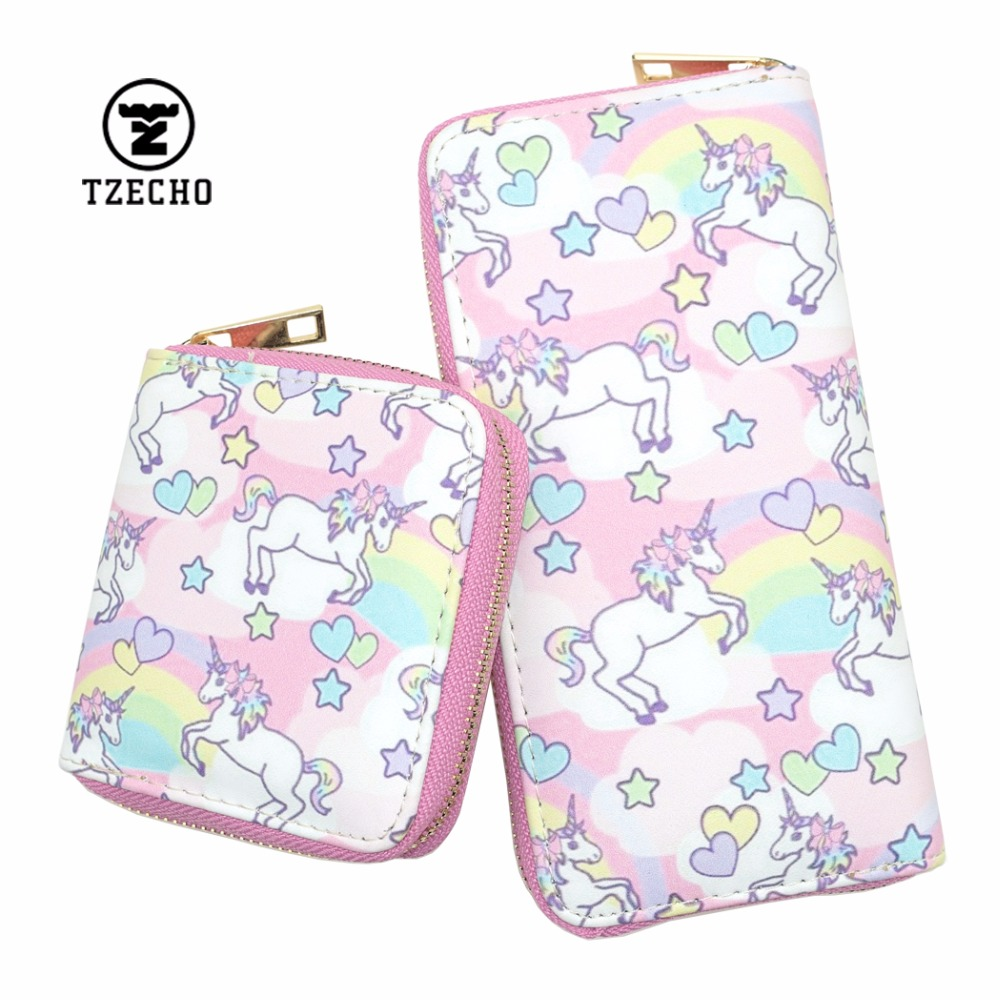 TZECHO Long Wallet For Women With Phone PU Cartoon Unicorn Clutch Zipper Purses Small Rfid Cards Holder Long Ladies Mini Wallets tzecho women wallets long zipper wallet for women with phone pu walet skull head ladies clutch purses rfid credit cards holder