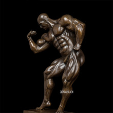Muscle Show Fitness Men Sculpture Brass Carving Arts Statues Furnishing Craft Home Office Modern Desk Decoration DS-491