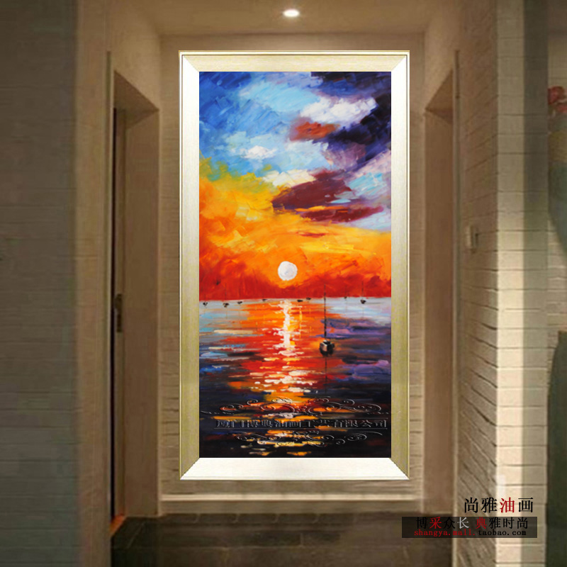 New Arrival Entranceway Decorative Picture Fashion Wall Art Handpainted  Sunset Seascape Oil Painting Vertical Version(