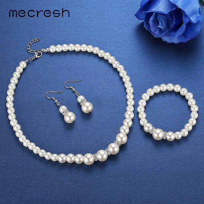 Mecresh New Simulated Pearl Jewelry Silver Color Necklace Earrings And Bracelet Wedding Jewelry