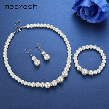 Simulated Pearl Necklace Earrings and Bracelet