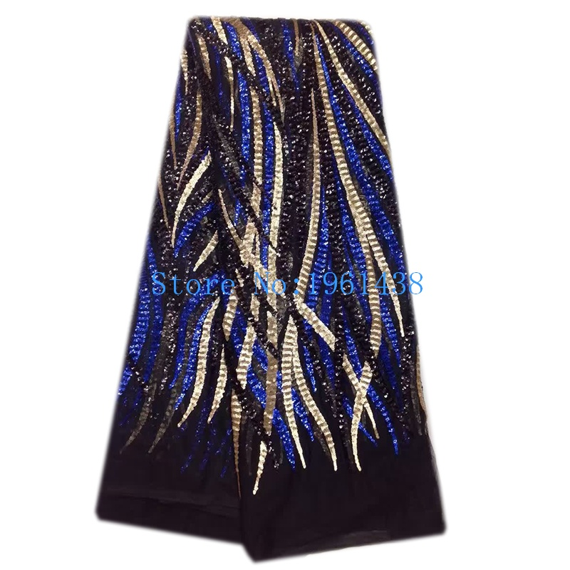 African Net Lace Fabric French Best Sequins High Quality Tricolor Sequins Lace Fabric for 2017 Nigeria