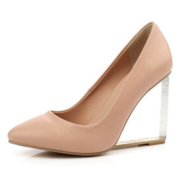 1eb69df29f1 Transparent heel Wedge wedding shoes high heel pumps genuine leather sexy  pointed toe party dress up shoes Nude white red silver