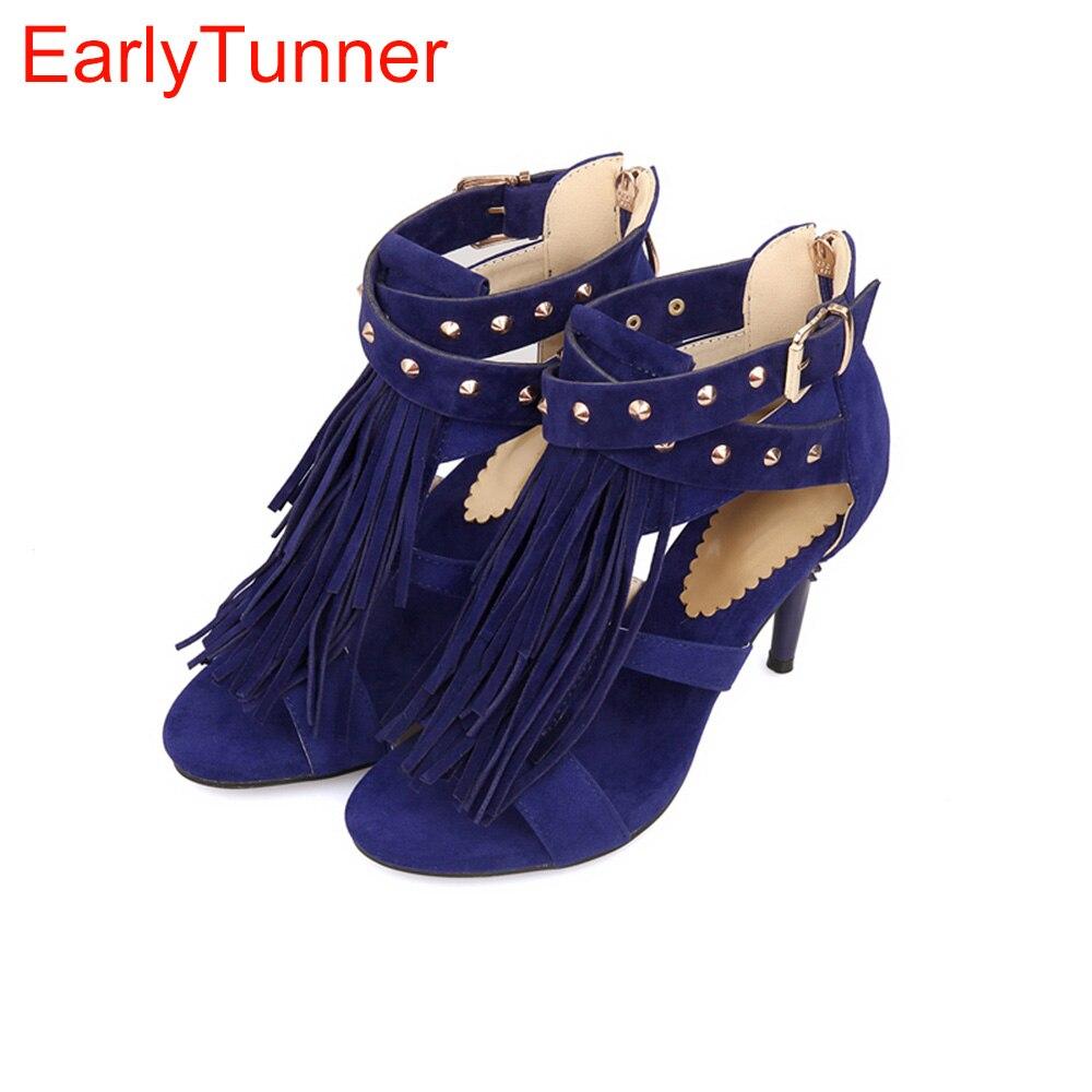 Brand New Sale Sexy Women Tassel Sandals Blue Black Purple -4349