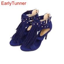 Marque Nouvelle Vente Sexy Femmes Gland Sandales Bleu Noir Violet Rouge Dames À Talons Hauts Rivets Chaussures Sociaux AY102, Plus Grande Taille 32 43 10