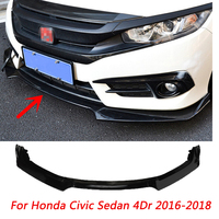 3 Pcs Bright Black Car Front Bumper Diffuser Lip Body Kit Spoiler Bumpers Protector For Honda Civic Sedan 4Dr 2016 2018